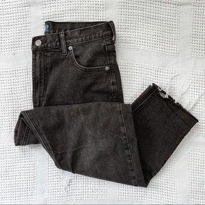 GAP    Black Washed Denim Mom Jeans Sz 30